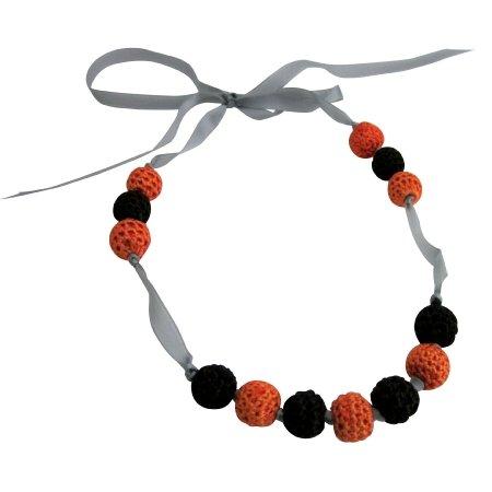 Baby Children's Necklace Black Orange Crochet Necklace