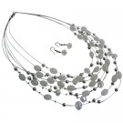 Elegant Beautiful Wedding White Oval Beads Multi Strand Necklace Set