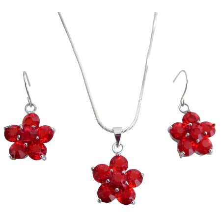 Bridesmaid Jewelry Sunset Red Saprkling Crystals Flower Jewelry Set