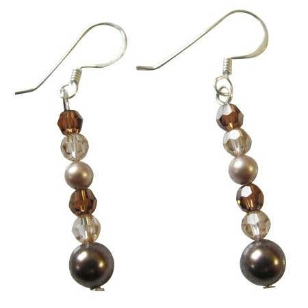 Swarovski Collection Brown Champagne Golden Shadow Crystals Earrings