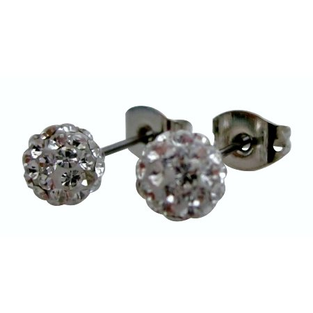 Wedding Clear Pave Ball Stud Earrings