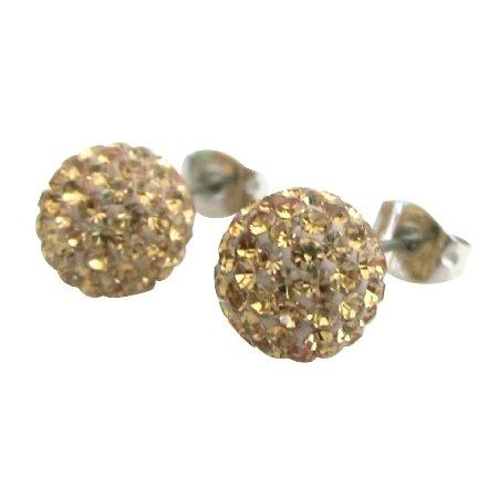 Light Colorado 9mm Pave Ball Stud Earrings