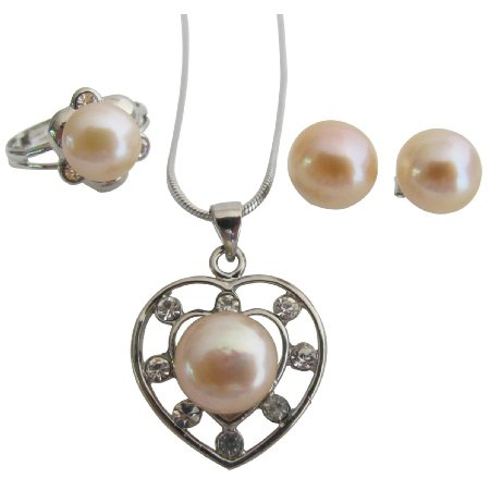 Freshwater Peach Pearls Heart Pendant Necklace Stud Earrings & Ring