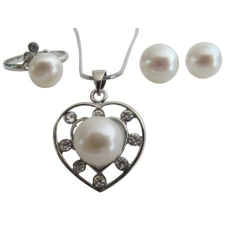 Oyster Shell White Pearls Heart Pendant Stud Earring & Ring