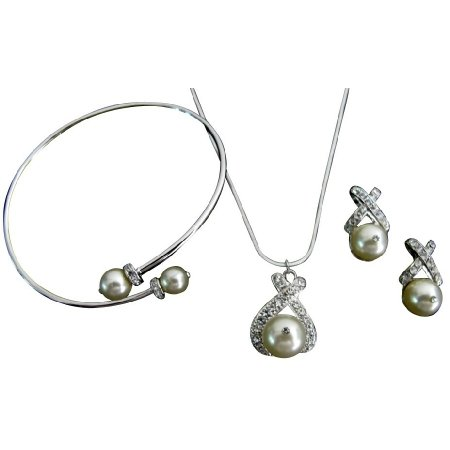 Gift Jewelry Cream Pearls Pendant Necklace Earrings Cuff Bracelet