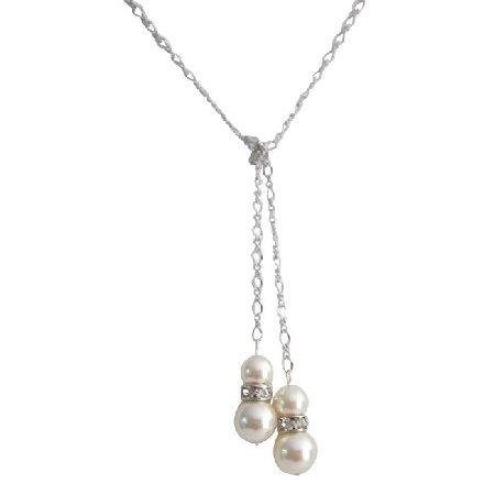 Lariat Necklace Genuine Swarovsk Ivory Pearls W/ Diamante Spacer