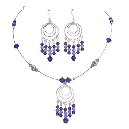 Purple Velvet & Violet Crystals Handcrafted Custom Jewelry Set