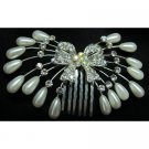 Sparkling Hair Comb Vintage Bow With Teardrop Pearls