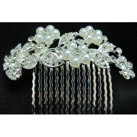 Bridal Pearls comb Wedding Accessories Flower Rhinestones Pearls