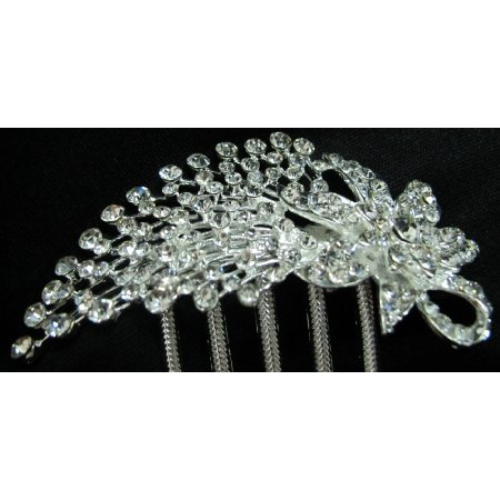 Vintage Inspired Comb Pinned In Your Hair Clear Rhinestones