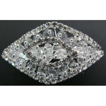 Vintage Style Bridal Crystals Clear Rhinestone Diamond Shape Barrette
