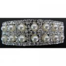 Bridal Barrette Silver Pearls & Rhinestone Lovely For Bride