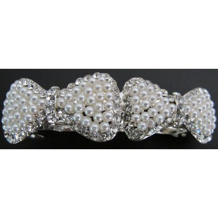 Gorgeous Double Bow Barrette Cream Pearls Rhinestone Prom Hair Barrette