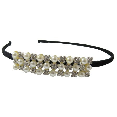 Cute Peageants Hairband Elegant Style With Pearls & rhinestone