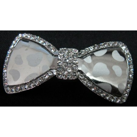 Shiny Glass Hair Bow Barrette W/ Sparkling Rhinestones Hair Clip