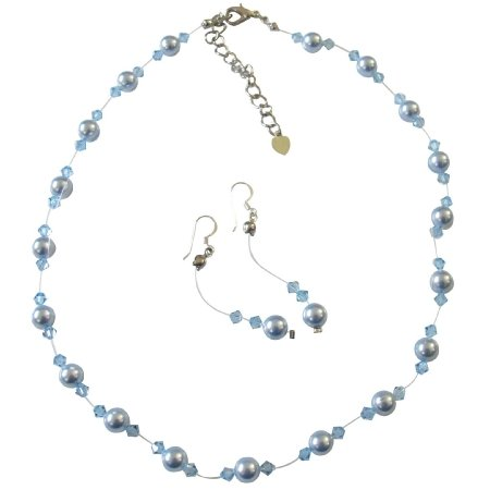 BRD441 Handcrafted Custom Jewelry Swarovski Blue Pearls Aquamarine Crystals Complete Set w/Bracelet