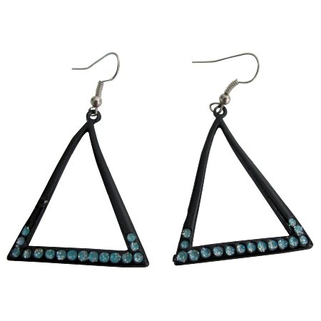 Triangular Earrings Summer Jewelry With Blue Sparkling Cubic Zicon