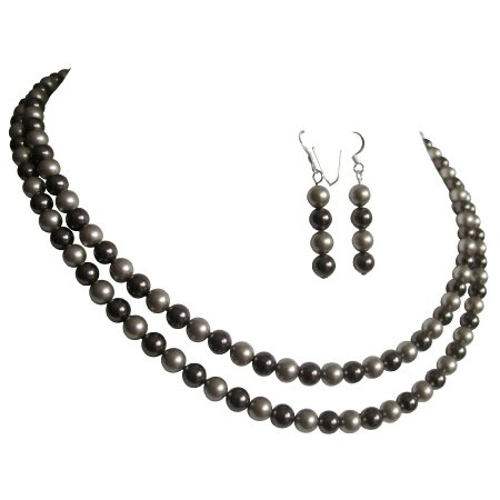 BRD1200  Chocolate Brown & Latte Pearl Double Stranded Jewelry Mother OF Groom Jewelry