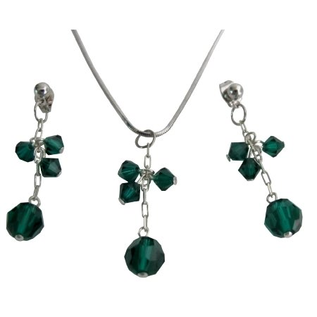 Birthday Gift Or Bridesmaid Jewelry Emerald Crystal Jewelry Set