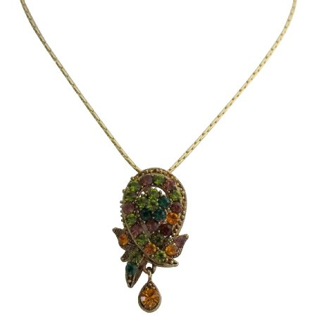 N1046  Vintage Pendant Multi Color Crystal Gold Plated Chain