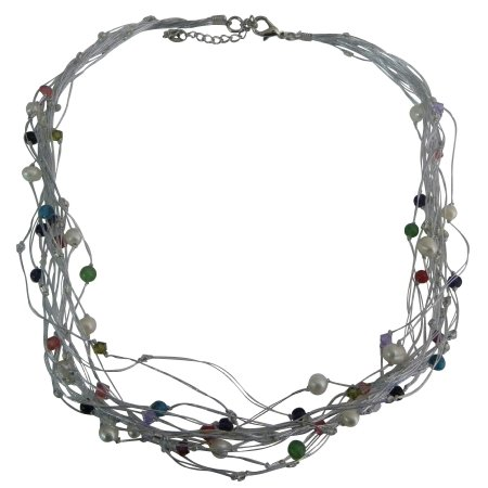 N1030  Multi-Strand Silk Necklace Adorned Freshwater Pearls Crystals
