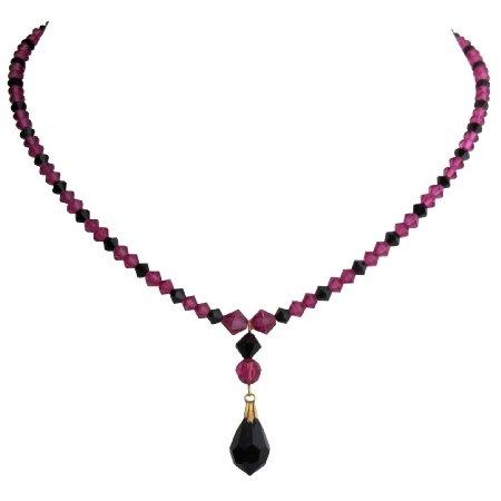 N1070  Swarovski Fuchsia Crystals Necklace With Jet Crystal Teardrop