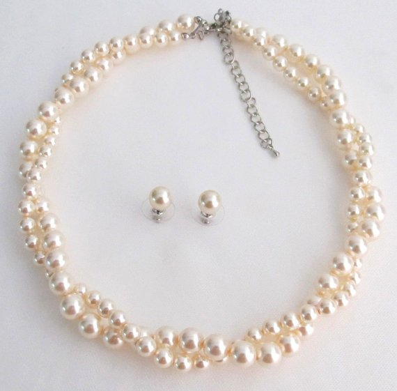 BRD1225 Ivory Pearls Twisted Necklace Stud Earrings Swarovski Elegant Pearls Perfect Bridal Jewelry