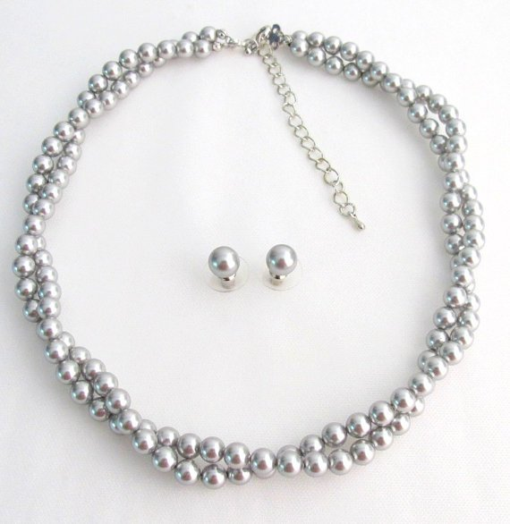 BRD1224 Designed Jewelry Soft Elegant Silver Gray Twisted Double Stranded Swarovski Pearls