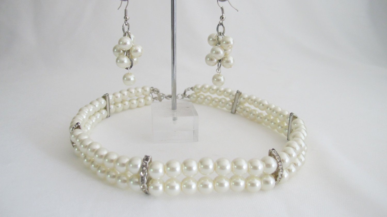 NS1310 Classic Splendid Double Stranded Wedding Necklace With Grape Bunch Earrings