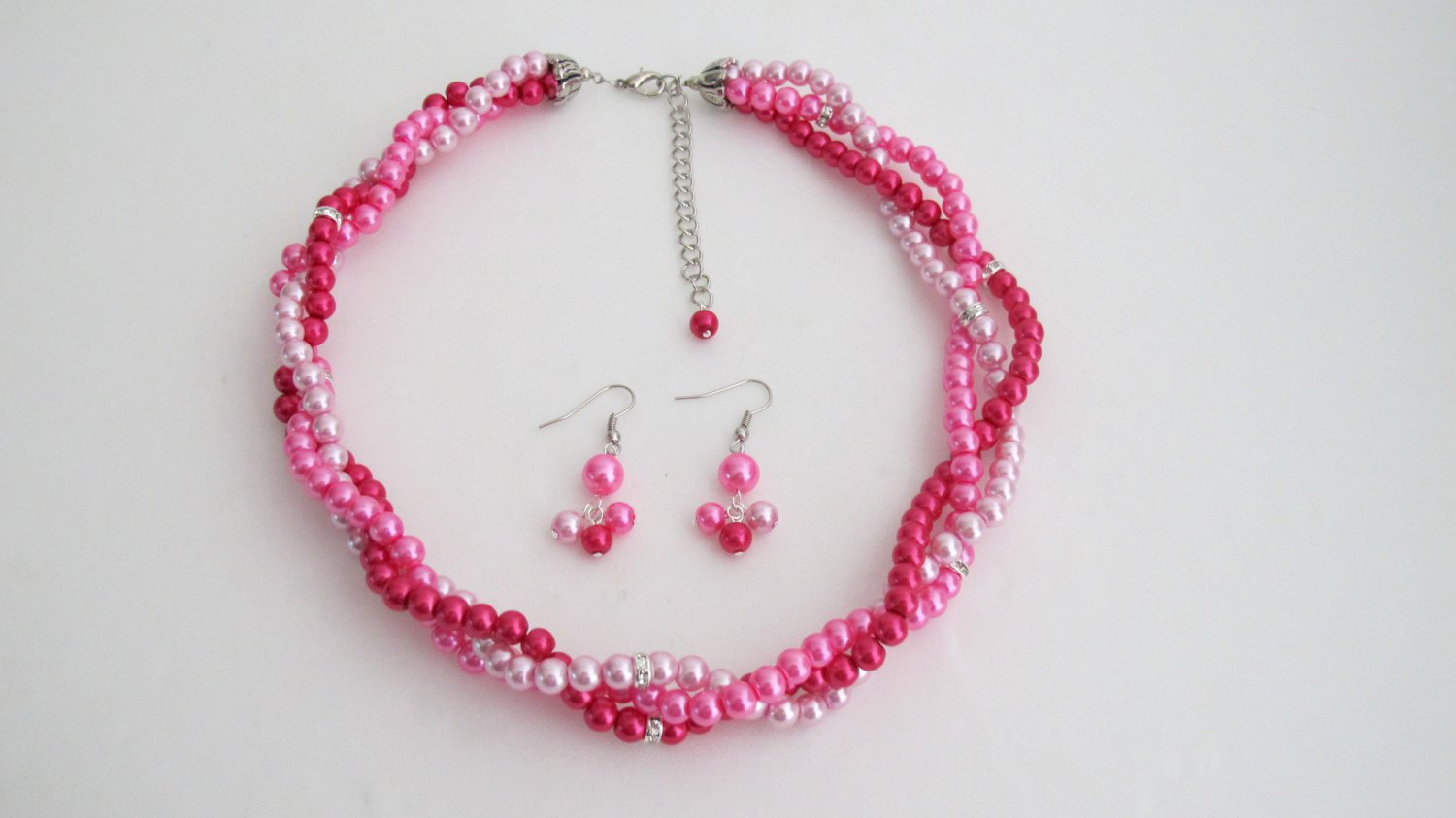 NS1314 Fuchsia Magenta Hot Pink Twisted Statement Three Strand Necklace Earring Set