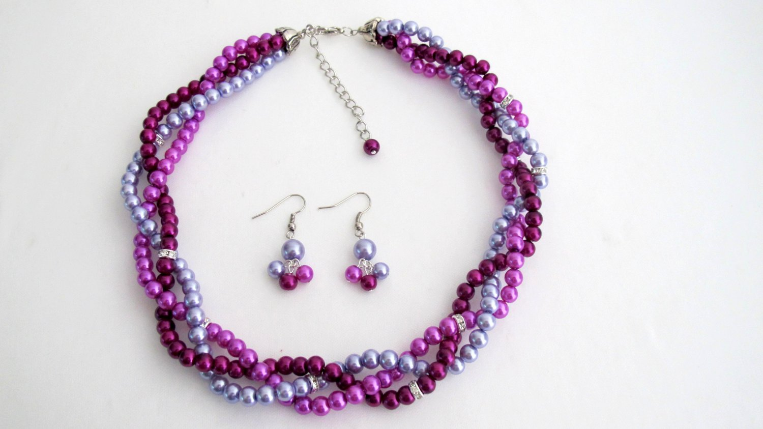 NS1315 Bridesmaid Twisted Necklace Dangling Earrings In Plum Purple And Lilac