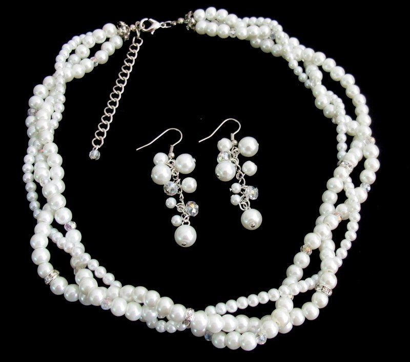 NS1327 Bridal Enchanting Set White Pearls Bridal Twisted Necklace Set Silver Rhinestones