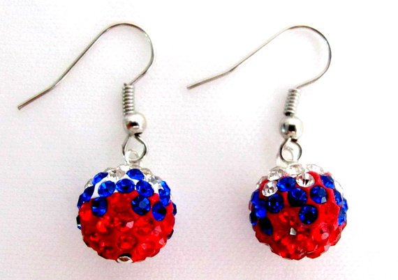 UER714 Independence Day Labor Day Military Memorial Day USA Flag Color Pave Ball Earrings