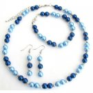 NS1352 Lite Blue Dark Blue Pearl Jewelry Set With Silver Spacer Gorgeous Complete Wedding Set