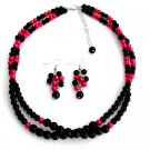 NS1348 Twisted Double Strand Necklace Magenta And Black Pearls Bridesmaid Pink Black Jewelry Set