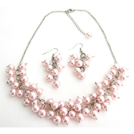 NS1326 Soft Pink Pearl Chunky Beaded Necklace With Earring Bridal Gift