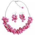 NS1302 Bridesmaid Affordable Hot Pink Cluster Necklace Set Gorgeous Wedding Gift