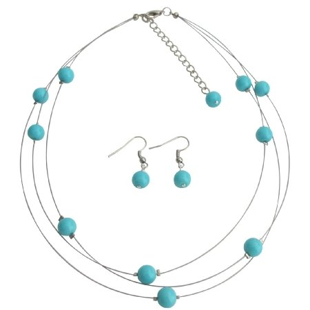 NS1278 Illusion Floating Turquoise Blue Pearls Three Stranded Necklace Earrings
