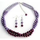 NS1331 Pretty Plum Purple Lilac Twisted Double Strands Necklace Earrings Set