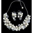 NS1355 Clusters Of Ivory Pearls And Clear Crystals Elegant Bridal Jewelry