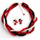 NS1333 Braided Twisted Chunky Wedding Jewelry Set Red White Black Four Strands Necklace