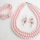 NS1346 Bridal Jewelry Pink Pearls Three Strands Necklace Bracelet Bridal Jewelry Set