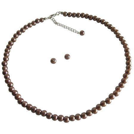 UNS149 Necklace with Stud Earrings In Bronze Pearls Small Girls Jewelry