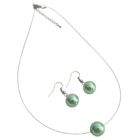 UNS156 Elegance Style Green Single Pearl Necklace Earrings Set