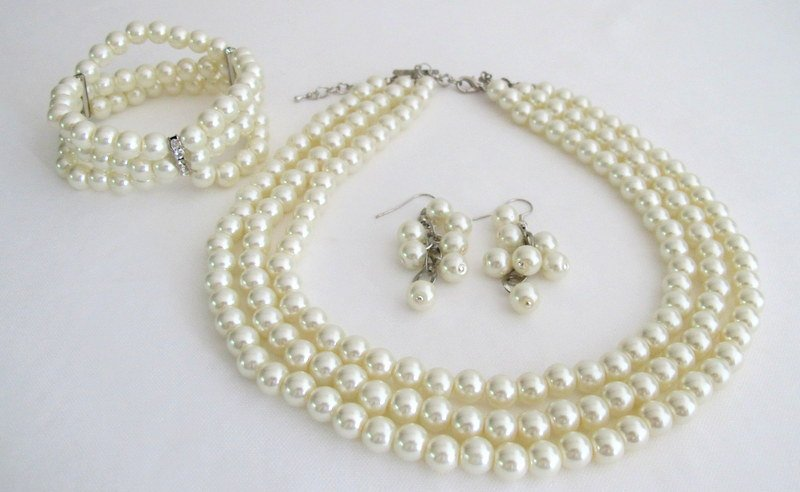 NS1305 Bridal Three Strand Necklace Bracelet Earrings Jewelry Set Simple Elegant
