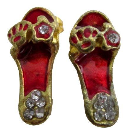 D287 Striking Red Cute Slipper Earrings