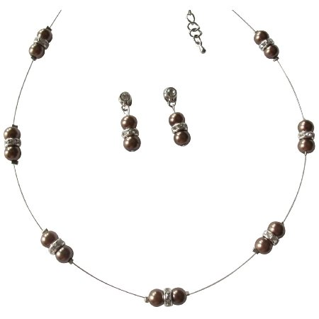 NS1Lustrous Brown Pearl Adorned In Illusion Lovely Necklace Earrings230