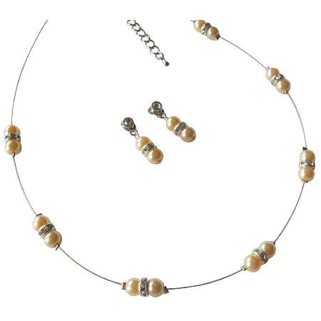 NS1233 Delicate Simple Peach Pearls & Glistening Rhinestones Jewelry Set