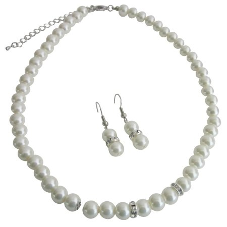 NS1173 Bridal Jewelry Matron of Honor Ivory Pearls w/ Diamond Like Spacer
