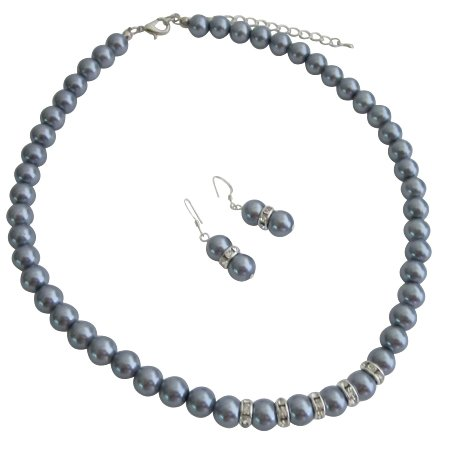 NS1162 Wedding Favors Jewelry Gray Pearls Silver Rondells Necklace Earrings